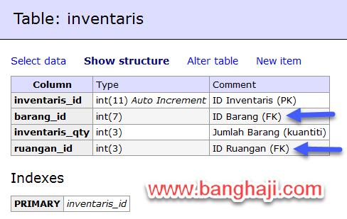 Struktur Tabel Inventaris
