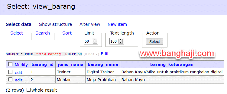 Select View Barang