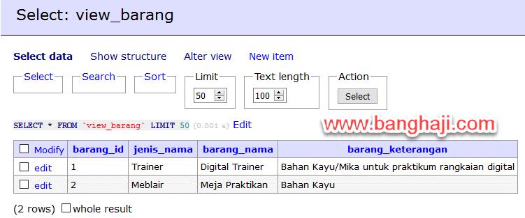 Select View Barang
