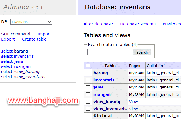 Tampilan Isi Database, Tabel dan View