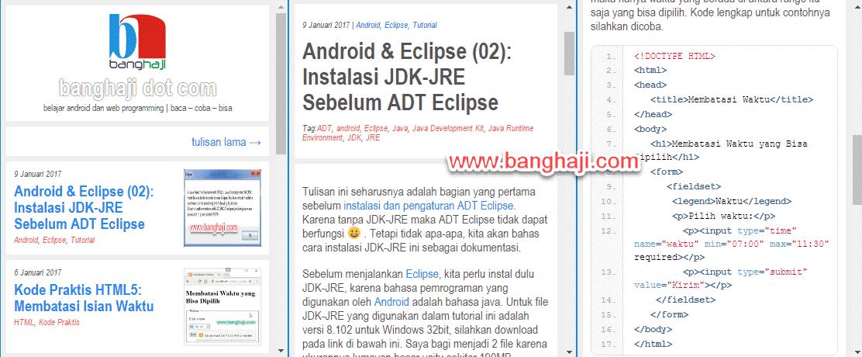 Tampilan Blog banghaji Versi Mobile