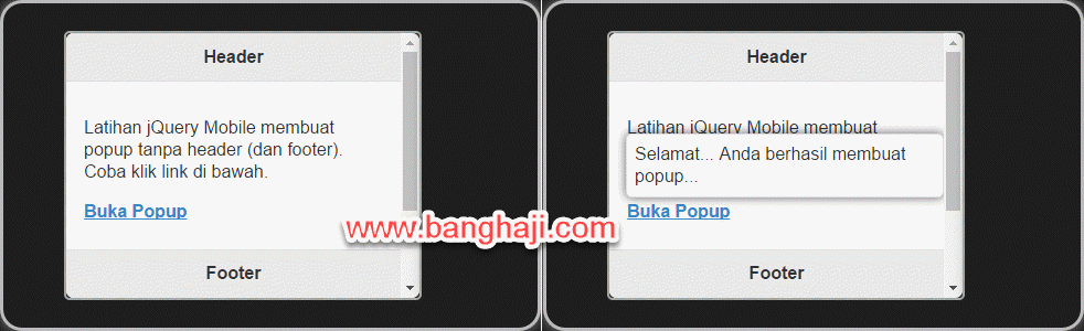 jQuery Mobile (05): Membuat Popup Window