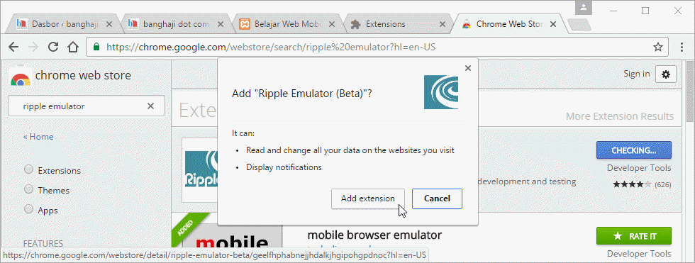 Instalasi Ripple emulator, Add extension