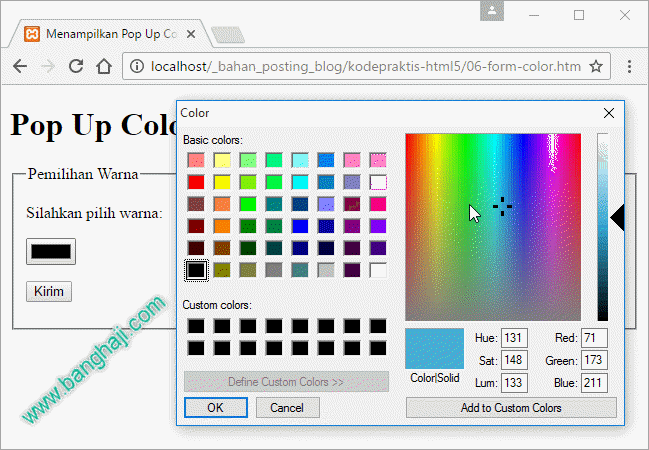 Kode Praktis HTML5: Membuat Pop Up Color