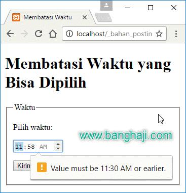 Batasan Pilihan waktu HTML5