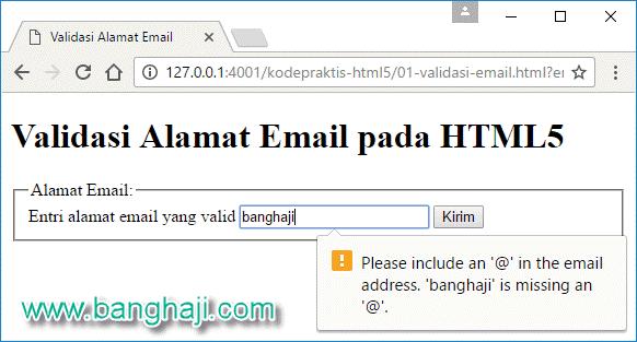 Validasi alamat email di Google Chrome