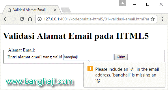 Kode Praktis HTML5: Validasi Alamat Email pada Form