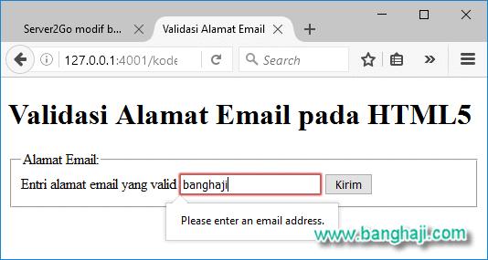 Validasi alamat email di Mozilla Firefox