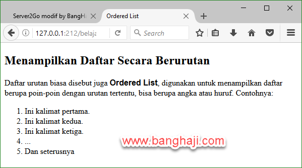 HTML Ordered List