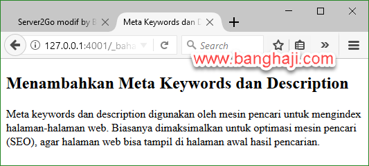 HTML Meta Keywrods dan Description