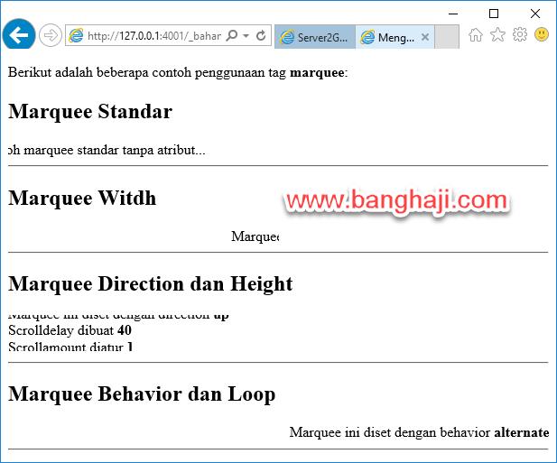 Belajar HTML (18): Membuat Teks Berjalan Menggunakan Marquee