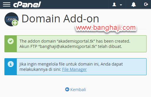 Berhasil Tambah Add-on Domain