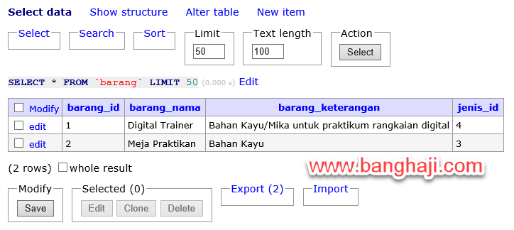 Hasil Select Adminer