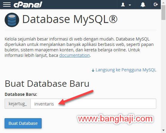 Membuat Database cPanel - Nama Database