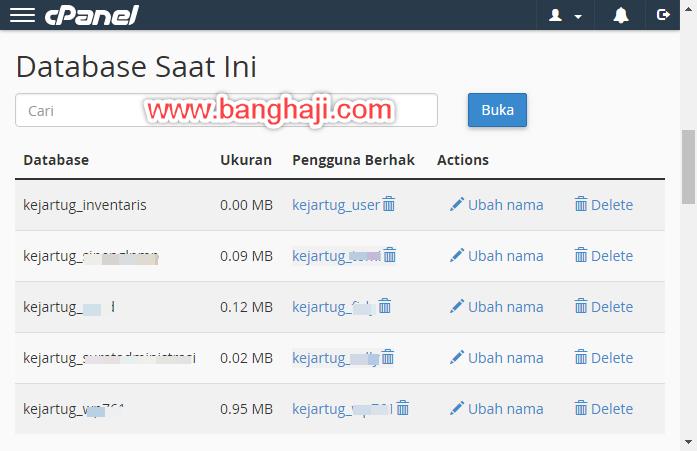 Membuat Database cPanel - Daftar Database