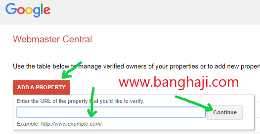 add a property domain webmaster tool