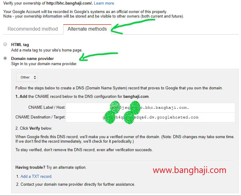 alternate methods untuk verifikasi domain banghaji dotcom