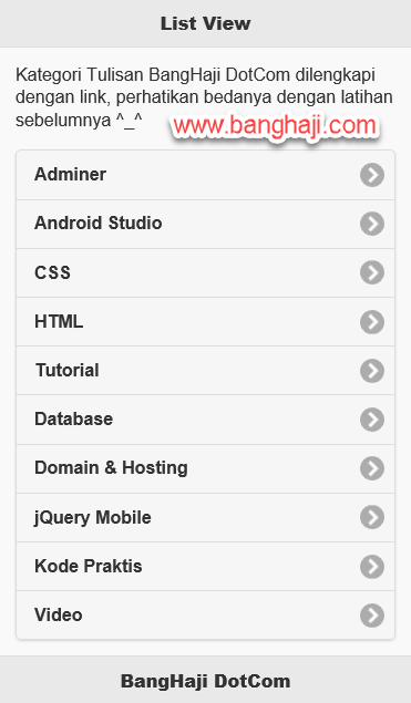 List View jQuery Mobile With Link