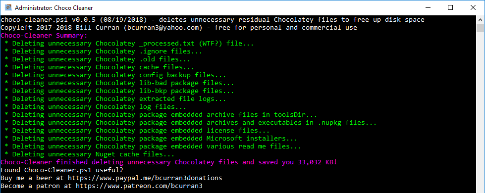 Screenshot of Choco-Cleaner