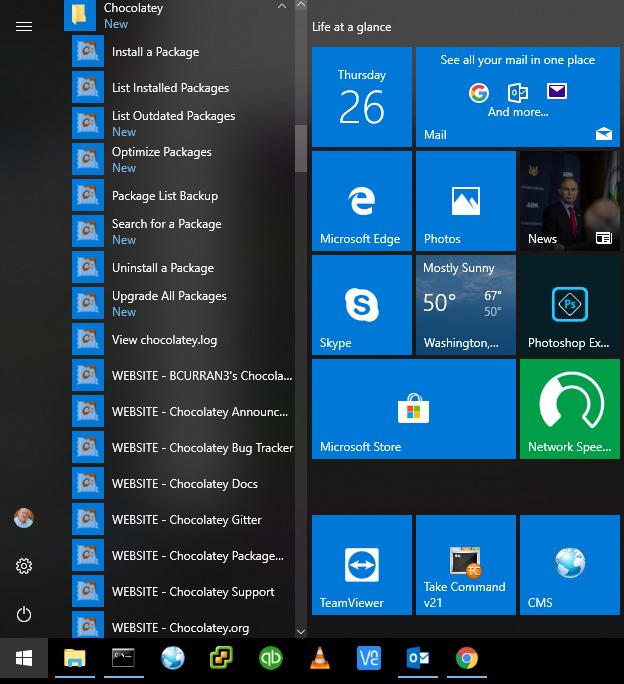 Screenshot of Choco Shortcuts