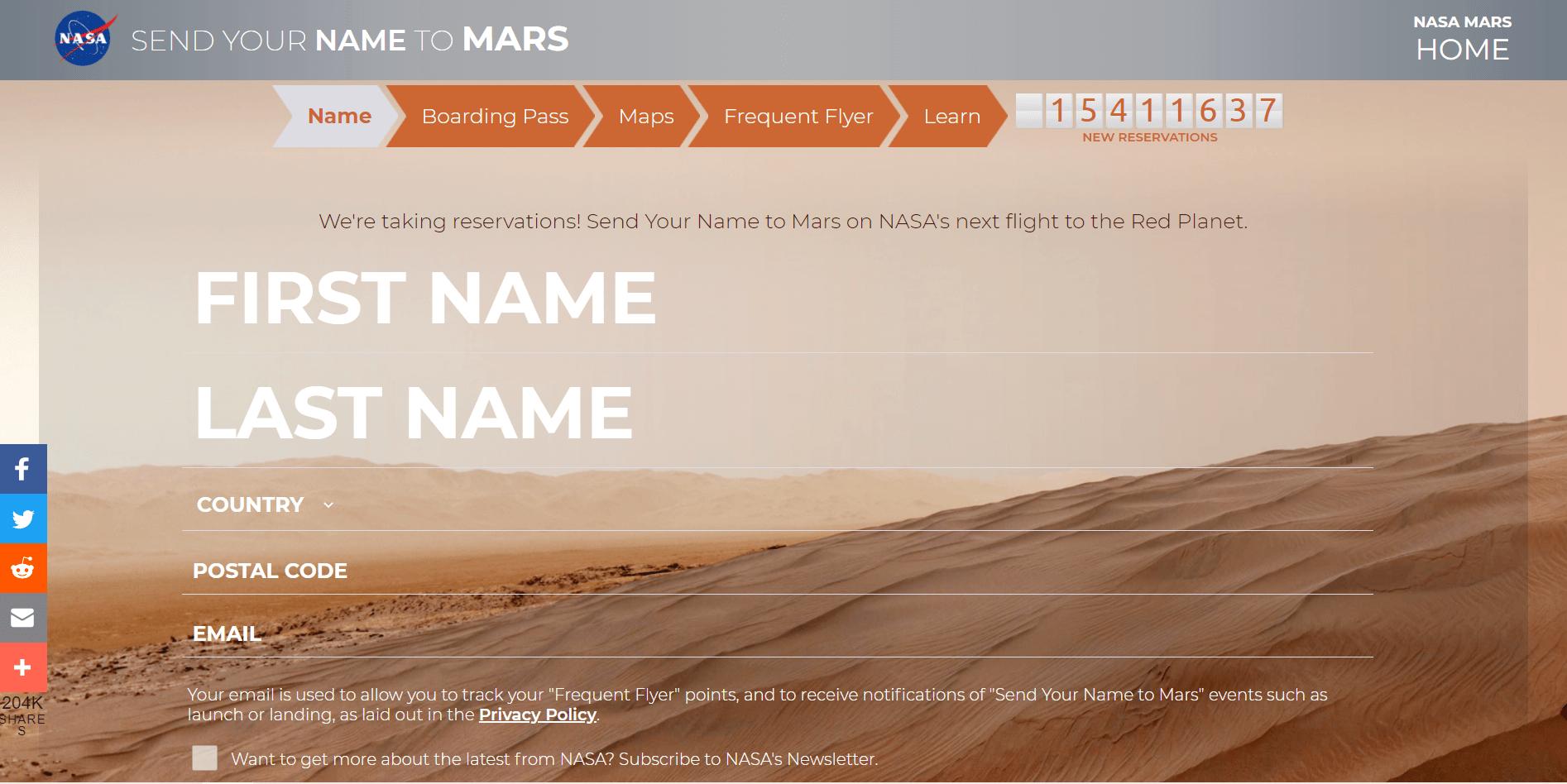 NASA 2026年火星船票开始预定,把名字送去火星!快来申请一张吧!