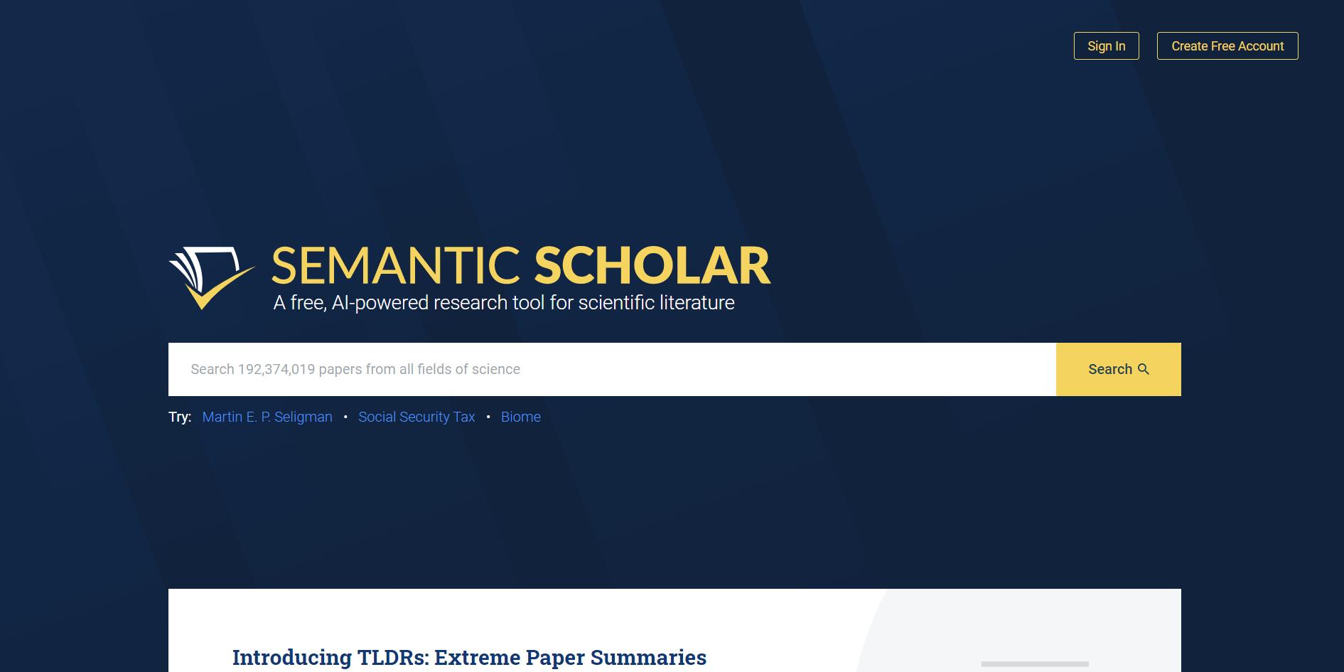 学术搜索引擎-论文必备工具-Semantic Scholar
