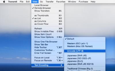 Transmit不能显示中文 中文显示成了乱码 解决方法