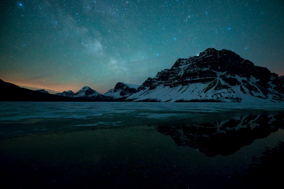 Milky Way Over A Thawing Bow Lake