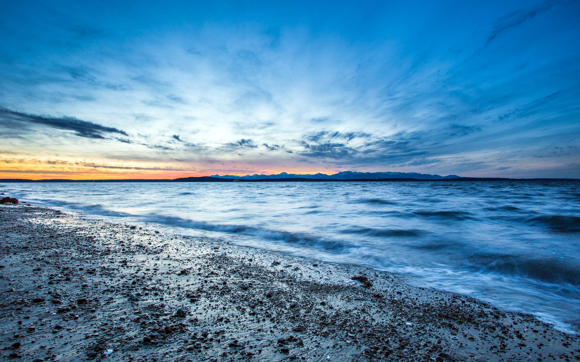 阿尔基海滩日落高清壁纸