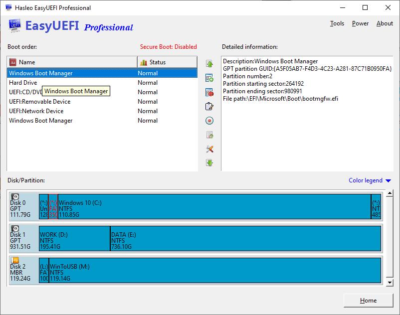 EFI/UEFI boot option management