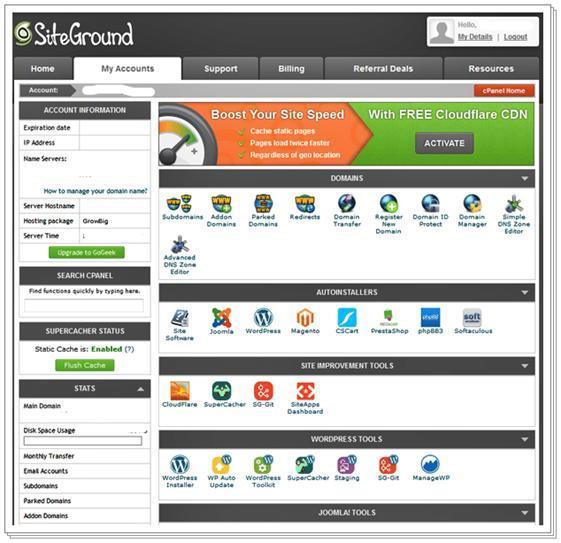 SiteGround使用面板比任何其他虚拟主机都更加用户友好和直观
