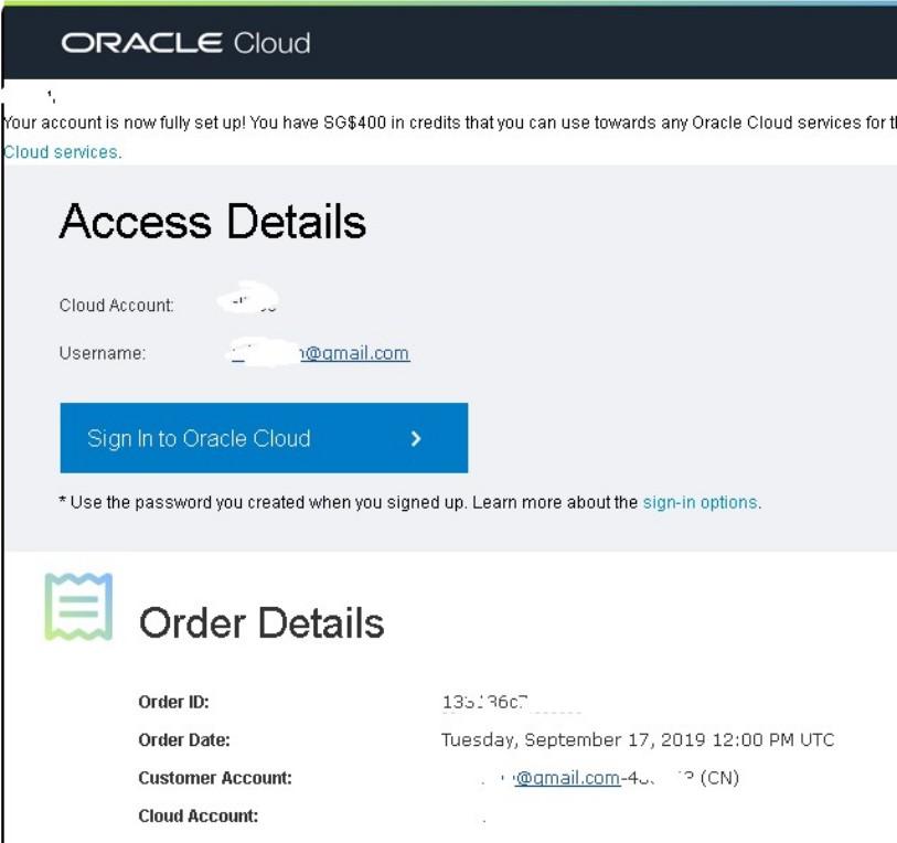 成功通过oraclecloud审核后会收到邮件