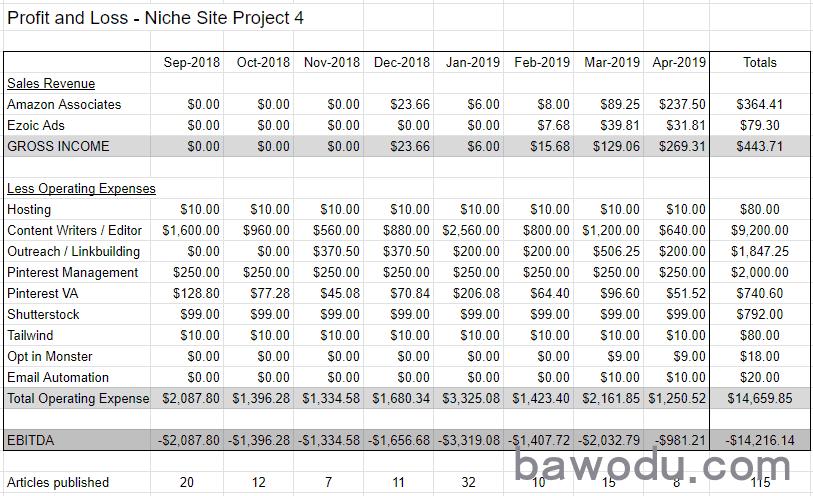 Niche site profit and loss statement