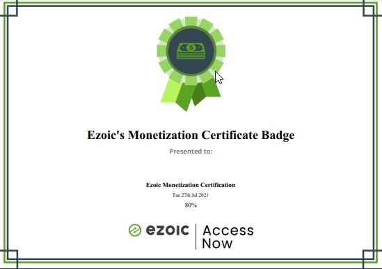 Ezoic课程证书