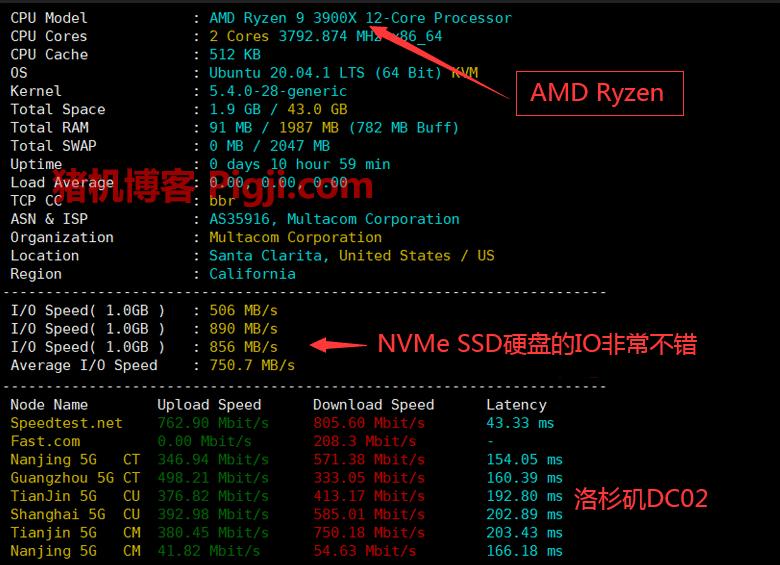 racknerd洛杉矶DC02 AMD评测