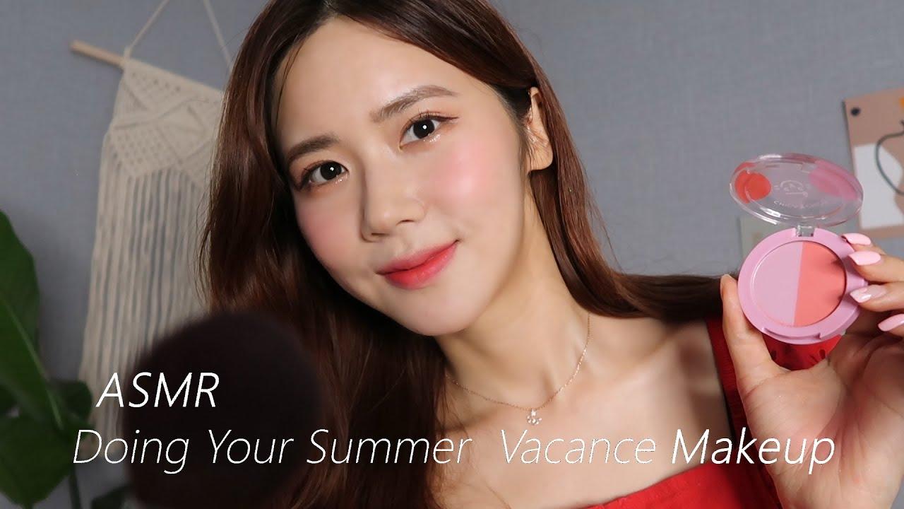 ASMR(SUB)做你的夏季真空化妆✈️-瞌睡熊ASMR
