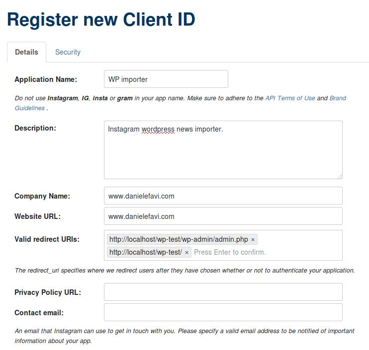 WP Social Importer - Instagram register app