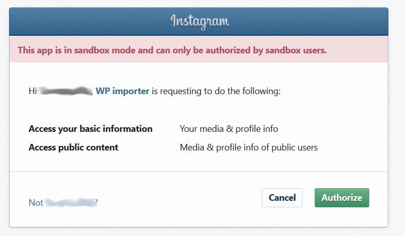 Instagram authorize app