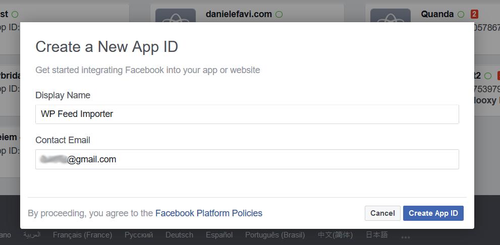 WP Social Importer - Facebook Create new app