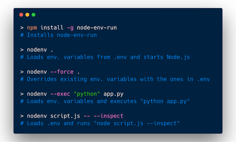 node-env-run example screenshot. Code below in Documentation section