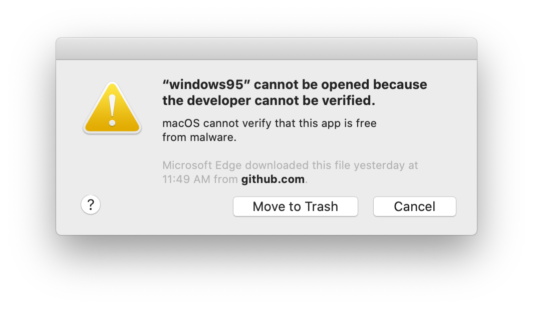 macOS Catalina Gatekeeper warning: The app cannot be opened because the developer cannot be verified