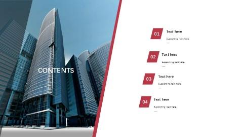 城市建筑左右结构PPT目录页模板