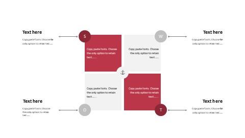 矩形排列SWOT分析报告PPT模板