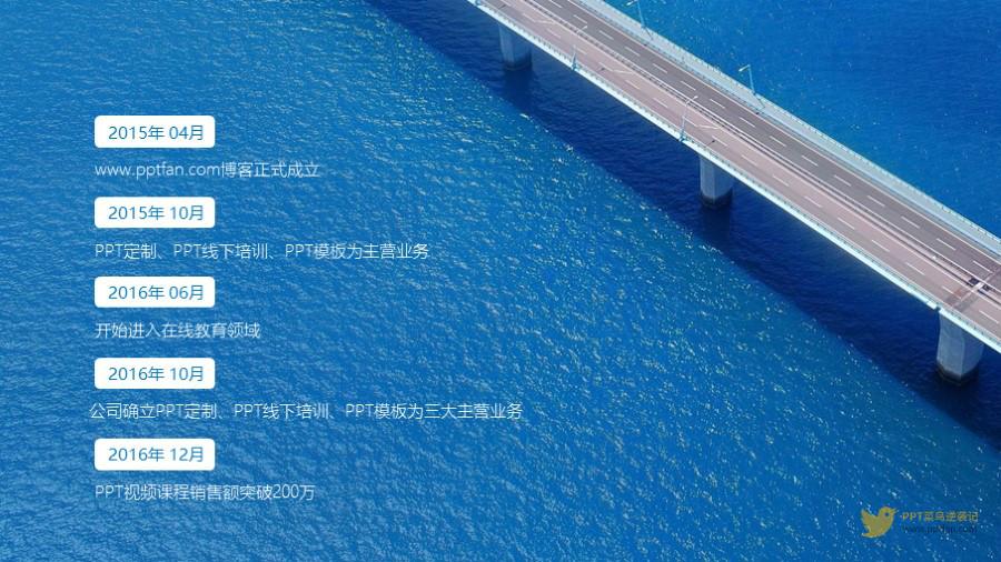 5项蓝色大桥图片纵向排列时间轴PPT模板