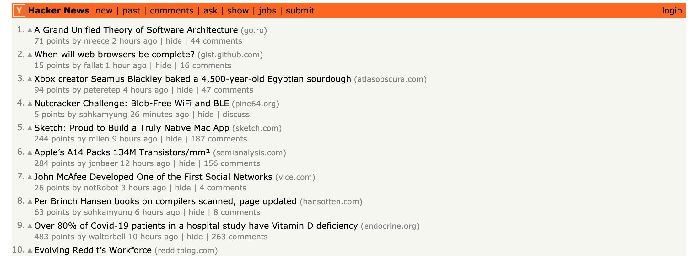 Hacker News的界面设计是出了名的简洁 我甚至没有找到广告的摆放位置