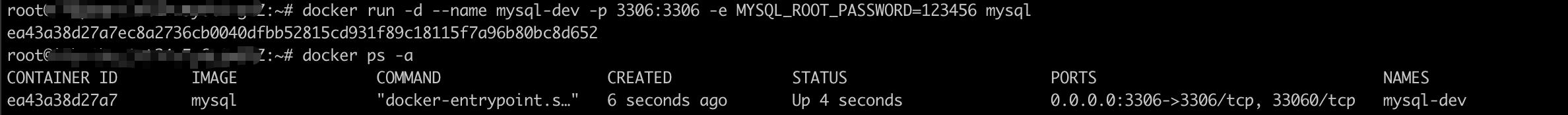 运行MySQL镜像