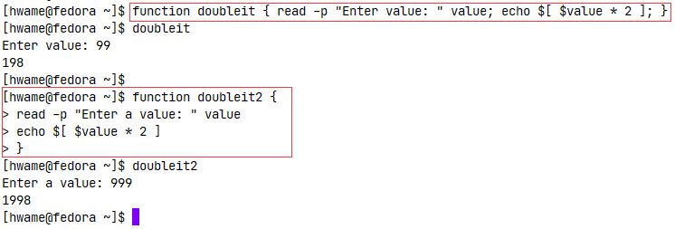 命令行上使用函数