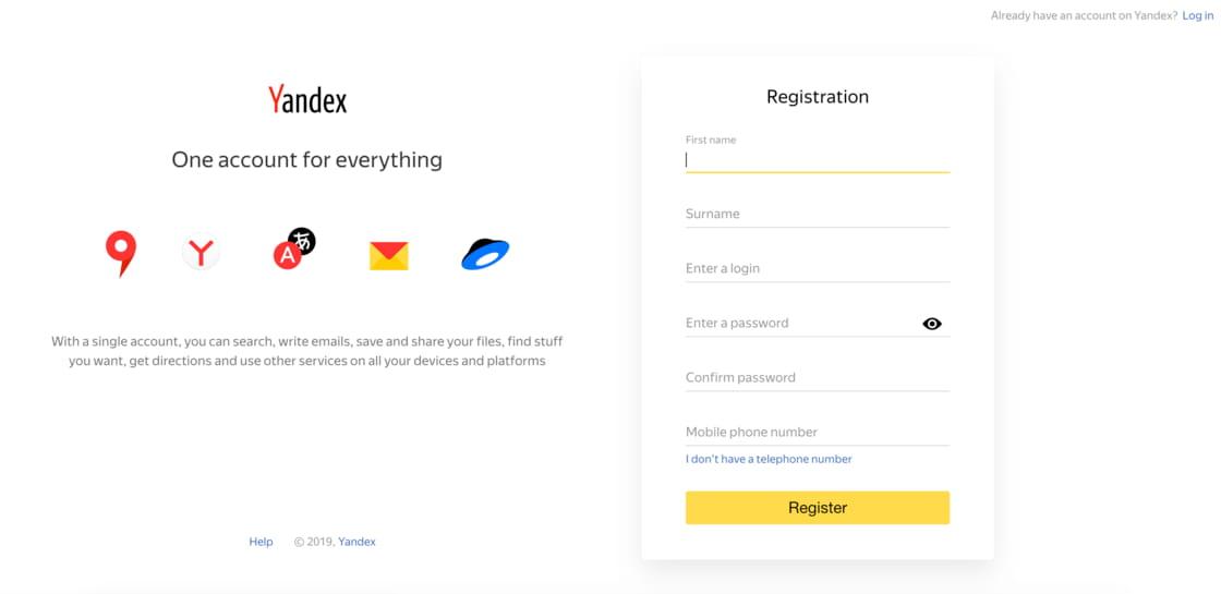 Yandex 注册