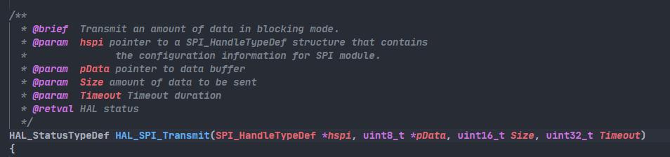spi发送函数原型定义