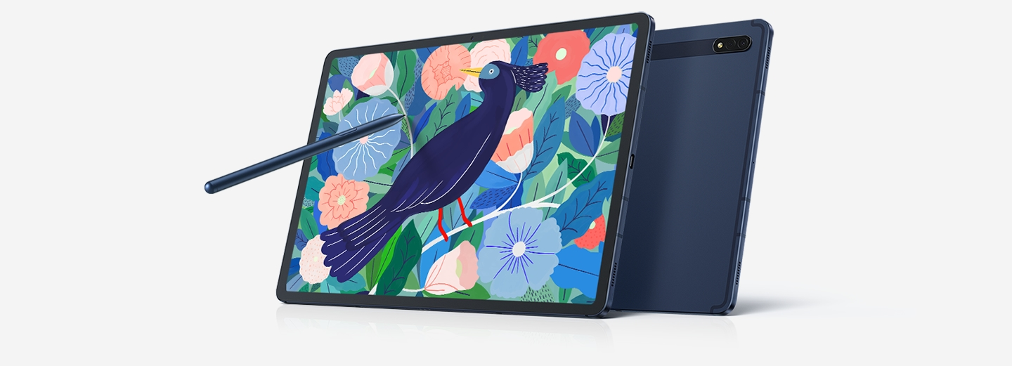 Galaxy Tab S7+ in Mystic Navy with the BookCover Keyboard and S Pen